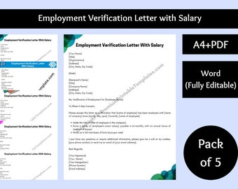 Employment Verification Letter with Salary [Pack of 5]