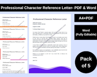 Professional Character Reference Letter- PDF & Word (Pack of 5)