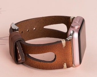 Brown Leather Apple Watch Band 38mm 40mm 41mm 42mm 44mm 45mm,unisex iWatch Strap Bracelet Series 7 6 5 4 3 2 1 & SE, Fitbit 3 2 1/SENSE Band
