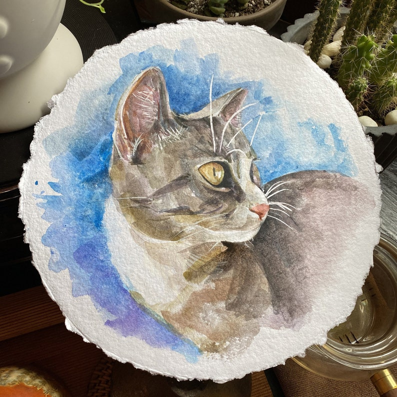 hand painting, not digital Unique paint gift pet for memorygift Custom watercolor animal