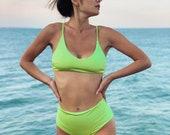 Neon Two Piece Swimsuit High waisted swimsuit Women swimwear Two piece solid bandeau bikini 2 pcs bathing suit