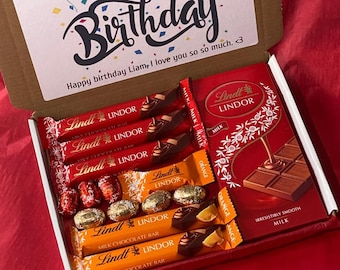 Lindt Lindor Chocolate Hamper Gift Box Letterbox Gift Birthday Hug In A Box Fathers Day Gift Son Daughter Grandchild Gift