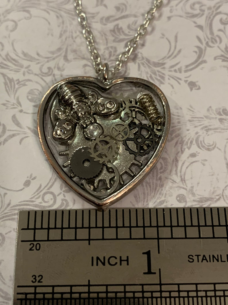 Silver steampunk Bee Heart necklace