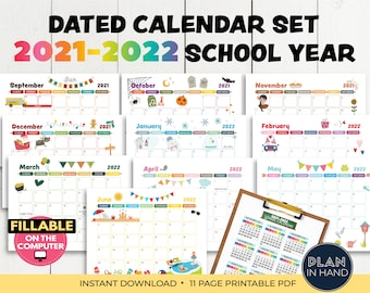 Printable Calendar 2021-2022 School Year Dated Calendar Season Holiday Calendar Set Fillable Editable Monthy Calendar Back to School