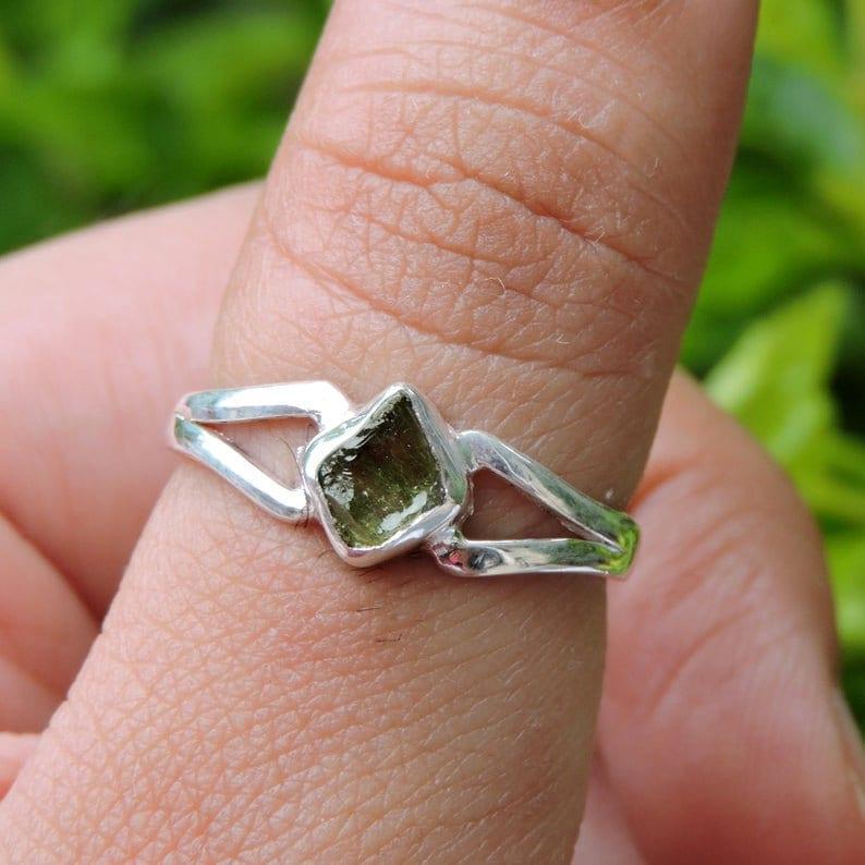 Meteorite Stone Moldavite Ring with Natural Gemstone from Czech Republic Moldavite Natural Ring