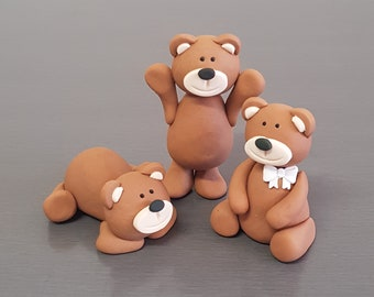 3 x  Teddy Bear Cake toppers
