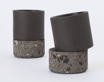Mexican Ceramic Mezcal Shot Glasses w/ Base. Mexican Handmade Black Matte Finish & Stone Mezcaleros. Set of 4. Tequila Mezcal Copitas Ritual