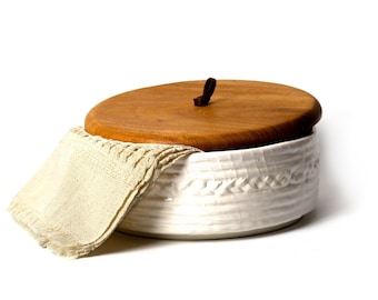 Mook Tortilla Warmer - Authentic Mexican Ceramic and Wood Tortilla Holder with Cotton Fabric Included