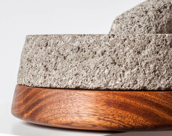 Stone & Wood Authentic Mexican Molcajete + Tortilla Warmer. Hand Carved Stone Mortar Pestle Wooden Tortillero Base. Unique Design Set 2 in 1