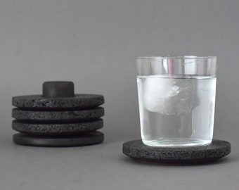 Water Disc Round Stone Coaster Set of 4 with Oak Wood Holder. Absorbent Coasters for Drinks. Black or White. Handcrafted in Mexico.
