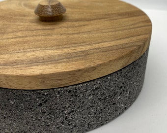 Stone & Wood Tortilla Warmer - Authentic Mexican Black Stone with Wood Lid Tortilla Holder. Tortillero. Unique Design by Rolikka.