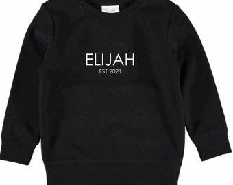 Kids Personalised Name EST sweater jumper.