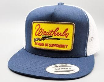 on a Mid-Crown Richardson 112 Mesh Baseball Cap Weatherby Hat Vintage Rifle Gun Patch Weatherby Trucker Hat