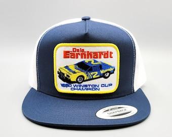 Dale Earnhardt Hat, Earnhardt Sr. Nascar Trucker Hat, Vintage Trucker Hat, Winston Cup Patch on Flatbill Snapback Baseball Cap