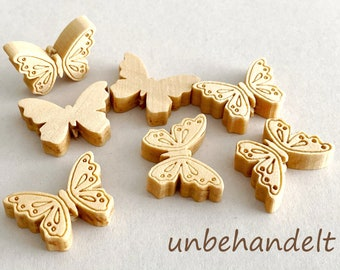 Wood butterfly natural natural wood untreated navajowhite, 18x24x6 mm, bore 2 mm