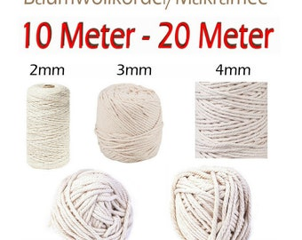 10-20 m cotton cord Ø 2-3-4-5-6 mm wall hanging macrame DIY maritime flash shipping