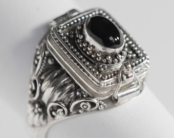A7 Black Onyx Poison Ring Sterling Silver Locket Ring 925 silver Secret compartment Natural Black Onyx December Birthstone US size 8