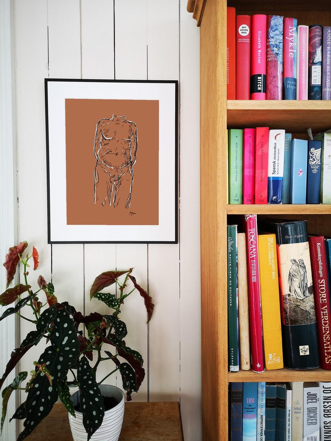 Downloadable print Naked man Body positive line art Artsy