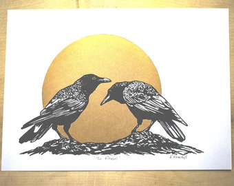 Lino print 'The Ravens' in black and gold.  Original art by Rebecca Ravenhill