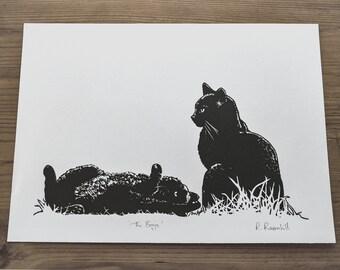 Cats Lino print 'The Boys' Original artwork by Rebecca Ravenhill