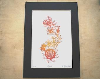 Original lino print 'Floral' in two tone orange