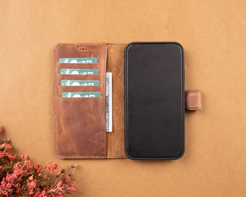 Light Brown Leather iPhone 11 Series Magnetic Detachable Wallet Case whit Card Slots iPhone 11  Pro  Pro Max Protective Back Cover Cases