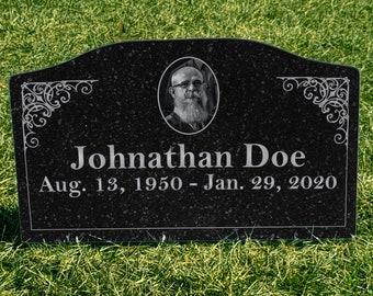 Temporary Grave Marker, Headstone, PVC, Faux Granite, Black Granite, Memorial, Personalized, Digitally Printed Item