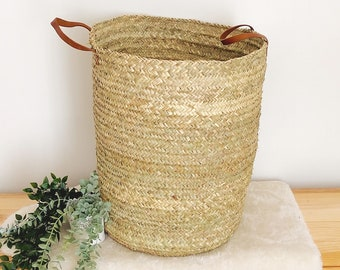 Wicker laundry basket, Large woven palm panière with leather handles, wicker storage basket