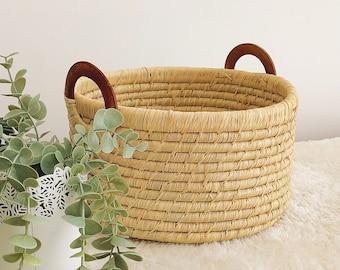 Raffia baskets, small storage basket, round panière in braided raffia