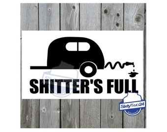 45 color choices! Gas Gauge Camping Vinyl Decal Motorhome Cousin Eddie Shitter Full Empty