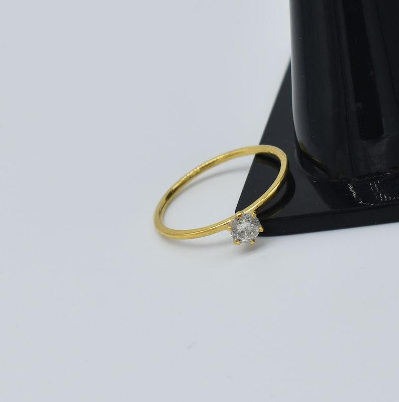 0.19 Ct Diamond Wedding Ring Handmade Gold Ring Dainty Mini Ring Thin gold Band Ring Stacking Ring engagement ring vintage style Gold Ring