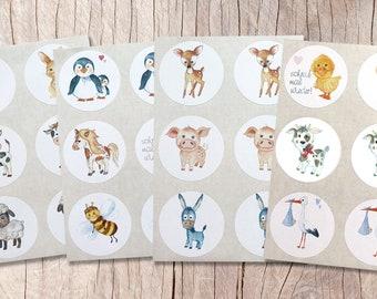 """Sticker """"Animals"""" 24 pieces 4 cm, paper sticker, customizable"""