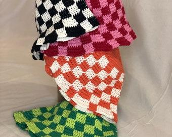 Checkered Bucket Hat Crochet Handmade Vintage Fashion