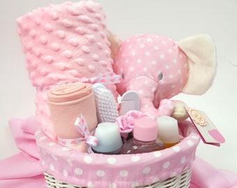 Baby Basket, New Baby Gift, Baby Girl, Baby Boy, Gift, Newborn, Baby Shower, Gift, Nappy Cake, Mum to be, Pink, Blue, White, Grey