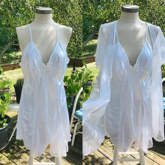 Vintage Mesh Peignoir Slip Gown Set Fairycore Cot… - image 1