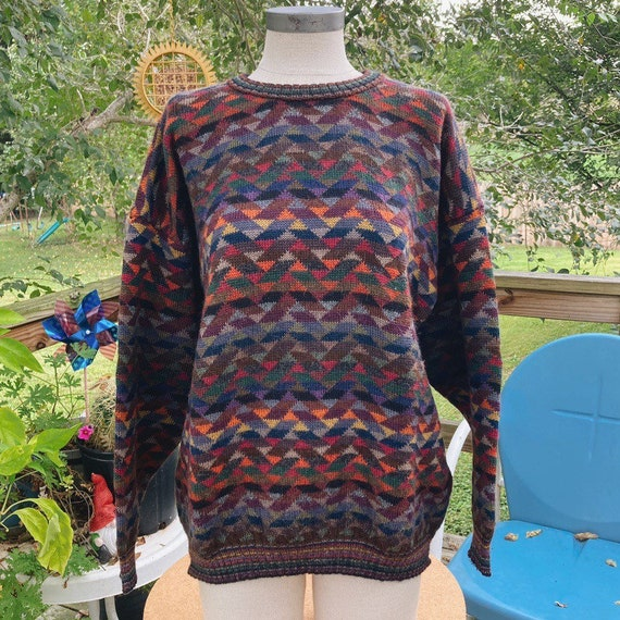 Vintage Rainbow Geometric Oversized Sweater - image 2