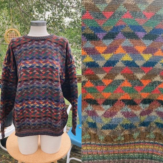 Vintage Rainbow Geometric Oversized Sweater - image 1