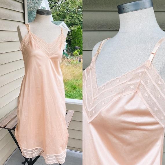 Vintage Peach/Rose Slip Dress  70s Fairycore Cott… - image 1