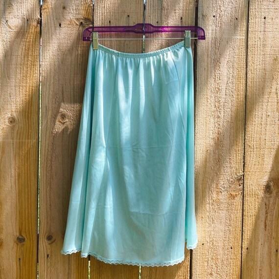 Vintage Half Slip Skirt 70s Tiffany Blue Fairycor… - image 1