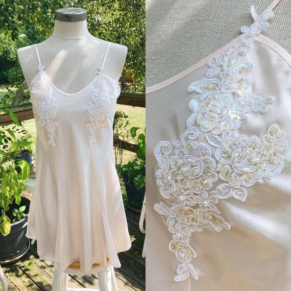 Vintage Peach/Rose Slip Dress 80s Fairycore Cotta… - image 1