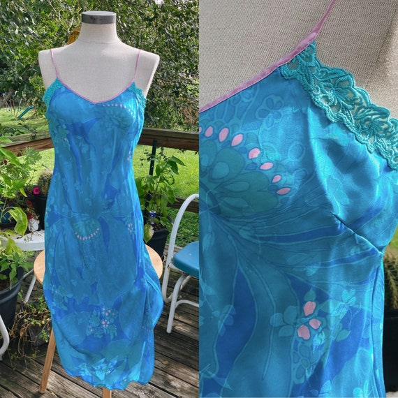 Vintage August Silk Blue Floral Slip Dress  Fairy… - image 1