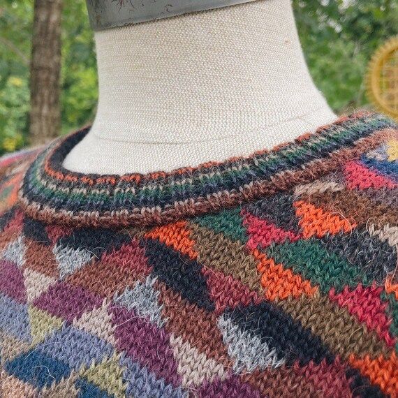 Vintage Rainbow Geometric Oversized Sweater - image 3
