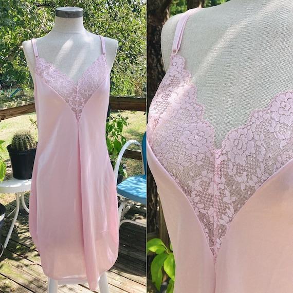 Vintage Pastel Pink Slip Dress Y2K Fairycore Cott… - image 1