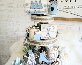 Christmas Tier Tray. Winter Wonderland Tier Tray. Christmas Mini Signs. Coffee Bar Signs.Tier Tray Decor. Christmas Decor. Snowman Tier Tray