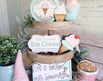 ice cream tier tray decor i scream you scream we all scream for ice cream farmhouse decor ice decor coffee bar decor kitchen decor pastels