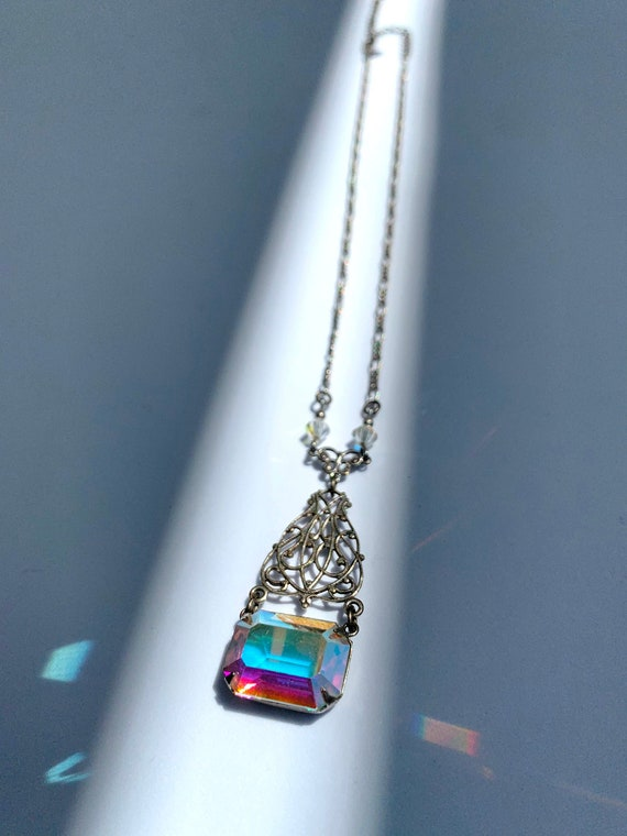 Fairycore Vintage Sadie Green Necklace AB Glass