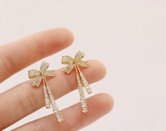 Bow Drop Earrings, Crystal Bow Earrings, Bow Geometric Drop Earrings, Zircon Bow Minimalist Earrings, Bow Earrings, Zircon Earrings, Earring