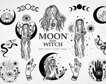 Boho moon svg, svg witch, svg moon child, new moon svg, crescent moon svg, witch's hand, moon svg for cricut,  Mystical SVG, commercial use