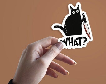 Black Cat What Murder Knife Vinyl Sticker