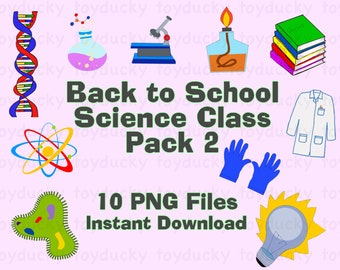 Back to School Science Class Clipart Set - Pack 2 - transparent PNG files - INSTANT DOWNLOAD